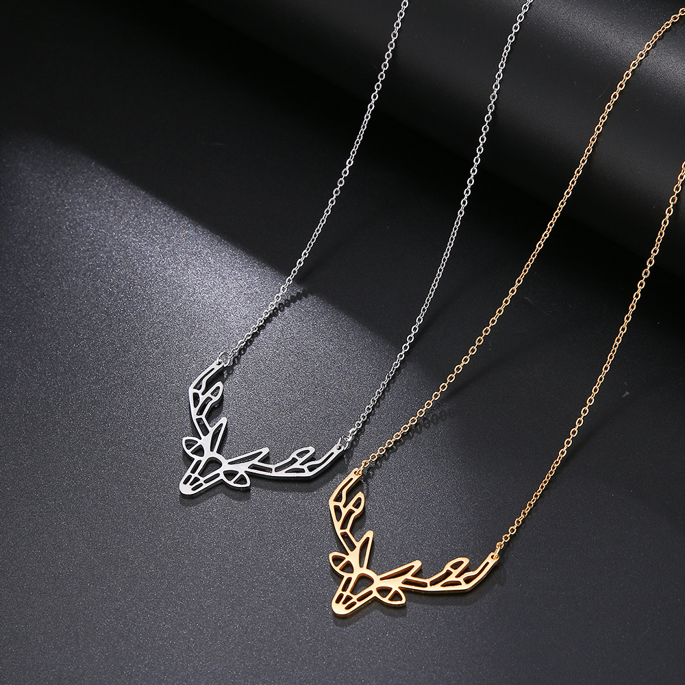 Cacana Stainless Steel Necklace Origami Deer Charm Necklace Women Boho Antler Horn Animal Christmas Jewelry Everyday Gift (1)