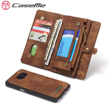 CaseMe Phone Case For Samsung Galaxy S7 S7 Edge Genuine Leather Zipper Multifunction Wallet 2 In1 Design Phone Full Cover Case(China)