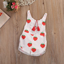 2017 new chiffon harness strawberry newborn baby clothes , white sleeveless baby cute summer dress shorts + children's suit