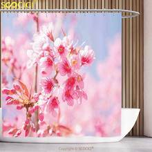 Polyester Shower Curtain Floral Sakura Blossom Branches Flower Essence Fragrance Nature Elegance Picture Light Pink Purplegrey