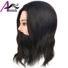 "wholesale price 100% 10"" Human Hair male Hairdresser Training Beard Barber Cosmetology manenquin Manikin head(China)"