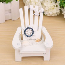 Hot 1PC Wooden mini Beach chair Nautical Decor Home Decor prop wedding decoration Wood Decoration Mediterranean Style(China)