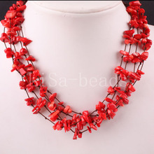 "5X8MM Chip Beads Nylon Line Weave Red Sea Coral Necklace 19"" 1Pcs E077"