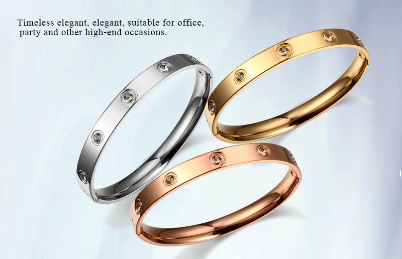 Trendy Rose Gold Love Bracelets Bangles Women Gold Color Stainless Steel Charming CZ Cuff Bracelet Lovers Luxury Brand Jewellery 3