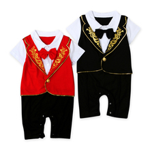 Baby tuxedo jumpsuit boy gentlemen bow tie rompers 2 colors short sleeve jumpsuit wedding birthday party clothes