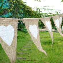 12pcs Party Linen Heart Pennant Flag Banner Wedding Church Xmas Decor Event Supplies Burlap Lace Raw Jute DIY Home Decoration