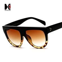SHAUNA 15 Colors Metal Hinge Flat Top Retro Women Large Gradient Frame Sunglasses Classic Men Clear Lens Sunglasses UV400