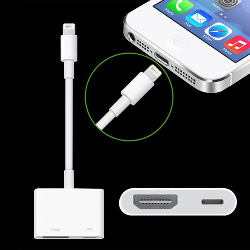AHHROOU 1080P HDMI Cable For Lightning To AV HDMI / HDTV TV Digital Cable Adapter For iPhone X 8 For iPhone 7 Plus For iPad Mini 1