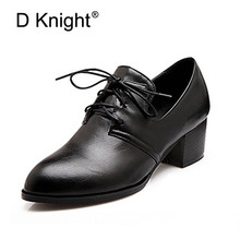 Buy New 2018 Vintage Square Heel Lace Women Pumps Ladies Casual High Heels Shoes Plus Size 34-47 Women Low Heeled Oxfords for $24.78 in AliExpress store