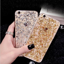 Fashion Gold Foil Bling Glitter Clear Phone Case For iPhone 7 6 6S Plus SE 5 5S Ultra Slim Soft Silicone Back Cover For iPhone6(China)
