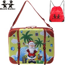 wenjie brother CHRISMAS MAN photoTravel Luggage 3D box cartoon children COOL suitcase gift children luggage for chrismas gift(China)