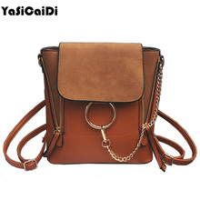 YASICAIDI Double Zipper Scrubs Chain Shoulder Bags High Quality PU leather Women Messenger Retro Ring Bags For Teenager Sac a Ma(China)