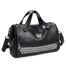 Trenadorab Vintage Leather Female Top-handle Bags Rivet Tote Larger Women Bags  Shoulder Bag Motorcycle Messenger Bag