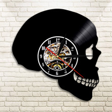 1Piece Handcarved Skull LED Lighting Wall Clock Color Changing Vinyl Record Wall Clock With Remote Controller Atmosphere Light(China)