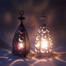 Romantic Star and Moon Iron Candlestick Lantern Candle Holder Metal Crafts for Home and Wedding Decor