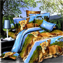 2017 Tiger animal activity printing 3D Duvet Cover Set Comfortable Bedding Set Queen Bedding Duvet Cover+Bed Sheet+2 Pillowcases