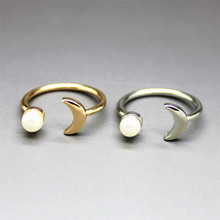 ENZE Free shipping Fashion jewelryFashionable woman gold silver moon new simple pearl ring