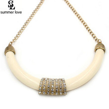 Fashion Jewelry 2016 Women Channel Necklace Ethnic Gold-Color Biege Resin Crystal Chunky Statement Choker Necklace
