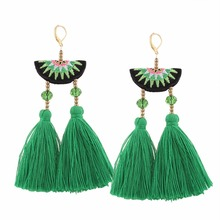 3 Colors pom pom Cotton Tassel Earrings Fashion Statement Drops Earrings For Women Embroidery Fringing Earrings Wholesale(China)