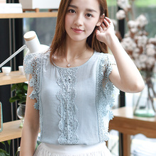 2017 Summer Women Shirts Short Sleeve Han Fan Vest Cotton Lace Blouse Shirt 8179
