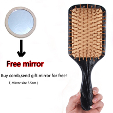 New Air-sac Mite Massage Comb Hair Beard Comb Bamboo Wooden Comb for Curly Hair Send Free Mirror S11DI49