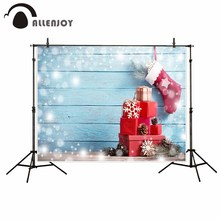 Allenjoy photography backdrop Blue Wooden Gift Red Sock Christmas Happy new year new background photocall customize photo print(China)