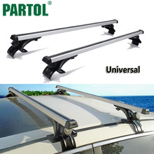 "Partol 2X 47"" 120cm Universal Silver Black Car Roof Rack Cross Bars Roof Luggage Carrier Cargo Basket Carrier Bike150LBS/68KG(China)"