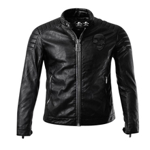 Free shipping,2017 Hot Sale Fashion Men's Leather Jacket Men's Casual quality brand motorcycle leather jackets men skull(China)