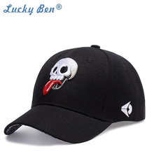 New Hip Pop Caps for men and women 3D Embroidered White skull Stuck out Tongue Baseball Cap Hat Black snapback hat men brand