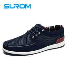 SUROM 2017 Men's Boat Shoes Lace up Low cut Flats New Suede Patchwork Mesh Shoe Fashion Men Casual Shoes Krasovki Zapatos Hombre
