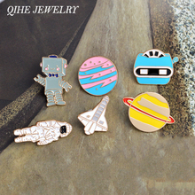 Enamel pin Warfare astronaut robot space shuttle star plant brooches lapel pin badge Space jewelry collection Astronomy Gift(China)