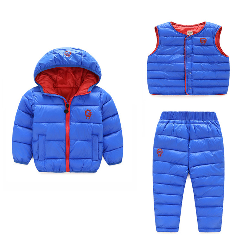 (3 pieces) Winter Kids Clothing Sets Warm Duck Down Jackets Clothing Sets Baby Girls &amp; Baby Boys Down Coats Set With Pants<br>
