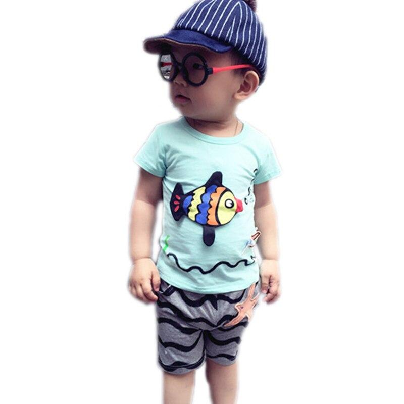 New Brand Summer Style 2016 Baby Boys Clothes Set Short Sleeve Animal Fish Print Shirt+Pant Set Boys 2Pcs Set Boy Clothes 1-5Y<br><br>Aliexpress