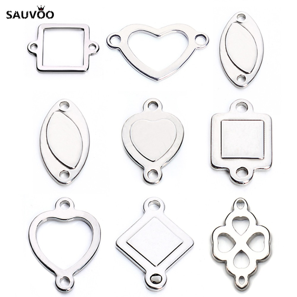 20pcs Silver Color Stainless Steel Hollow Oval Square Heart Charms Pendants Connectors Blanks Stamping Tags for DIY Bracelets(China (Mainland))