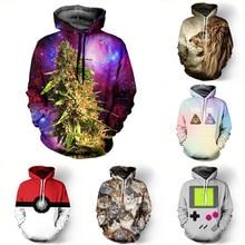 New 2016 Fashion Women/men Unisex 3D Hoodies Sweatshirt Weed Floral Galaxy Hoodies Pokemon Hip Hop Coat Tops Sweatshirts