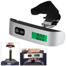 Mini Digital Luggage Scale Hand Held LCD Electronic Scale Electronic Hanging Scale Thermometer 50kg Capacity Weighing Device(China)