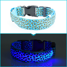 Dogstory Adjustable New Style Leopard Glow Cat Dog Collar Nylon Dog Harness Night Safe Flashing Pet Collars Fashion Accessories