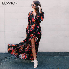 Buy ELSVIOS 2018 Boho Summer Dress Women Floral Printed Side Split Long Maxi Dress Sexy V Neck Loose Floor-Length Dresses Vestidos for $15.56 in AliExpress store