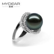 MYDEAR Fine Pearl Jewelry Beauty S925 Silver Rings 100% Real 10-11mm Tahitian Pearl Rings For Women,Jewelry Making Supplies(China)