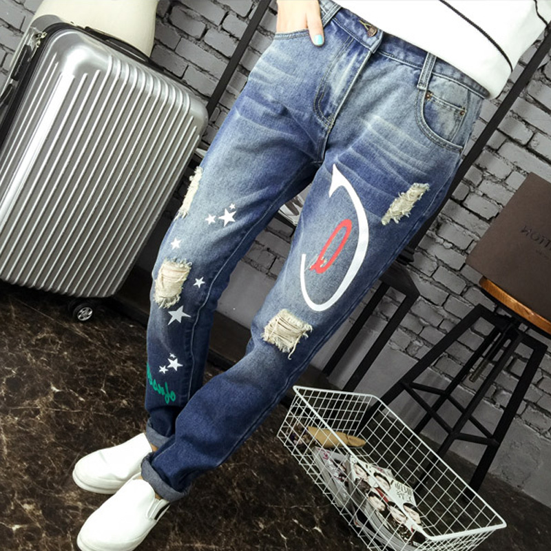 Spring/Autumn ripped jeans woman holes denim pants printed leisure jeans pants for women loose blue female denim trousers XL-5XLОдежда и ак�е��уары<br><br><br>Aliexpress
