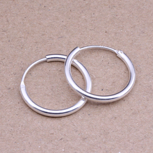 Round Hoop Earrings Genuine 925 Sterling Silver 14mm,16mm, 18mm, 20mm for Men Trendy Circle Earrings Thick than Normal One(China)