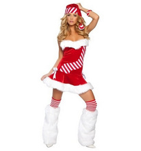 Christmas Dress Lady New Sexy Womens Santa Cosplay Skirts Christmas Xmas Fancy Dress Outfits Helloween Cosplay Dress B-3861