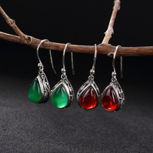 S925 silver hollow mosaic pattern Thai silver retro green chalcedony earrings wholesale high-grade red pomegranate(China)
