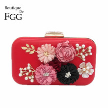 Red PU Flower Appliques Beaded Crystal Evening Clutches Bag For Women Fashion Party Dinner Hand Bag Bridal Clutch Wedding Purse