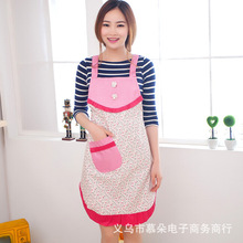 Factory direct new Korean peach fabric floral garden cute kitchen aprons wholesale antifouling bilayer
