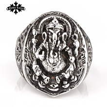 Vintage Stainless Steel Thailand god religion Super wide wishful lucky jade longevity elephant god Trunk ring  Jewelry