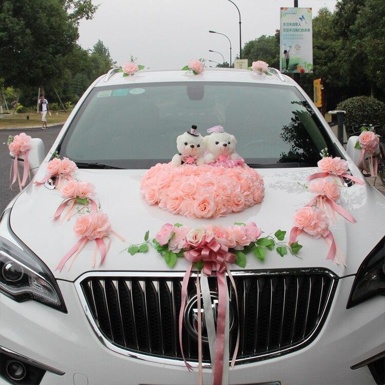 Rose Flower Wedding Car Decor Wedding Bride Bouquet Flower Car Decor Ribbon