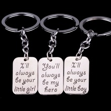 Family My Hero Little Girl Boy Dad Daddy Father Papa Daughter Son Keyrings Key Chains Rings Keychains(China)
