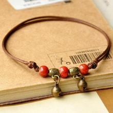 1PC Hot Summer Beach Ankle Foot Jewelry Anklets Bracelets Handmade Artificial Ceramic Small Bell Knit Anklet bracelets