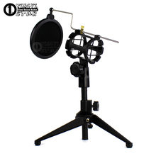 Desktop Computer Studio Microphone Stand Pop Filter Holder Clamp Metal Mikrofon Tripod Record Mic Clip PC Shock Mount Windscreen